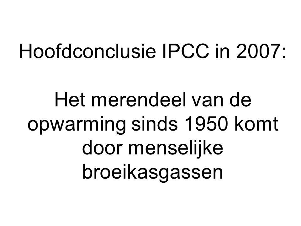 Hoofdconclusie IPCC in 2007: Het merendeel van de opwarming sinds 1950 komt door menselijke broeikasgassen