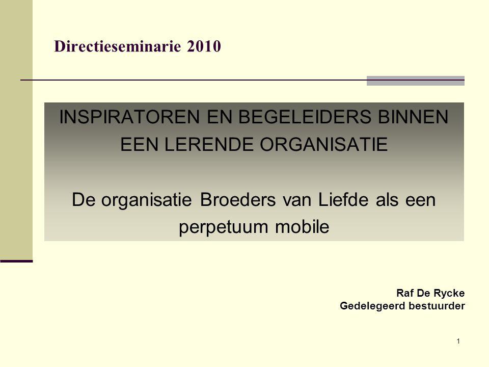 1 Directieseminarie 2010 INSPIRATOREN EN BEGELEIDERS BINNEN EEN LERENDE ORGANISATIE De organisatie Broeders van Liefde als een perpetuum mobile Raf De