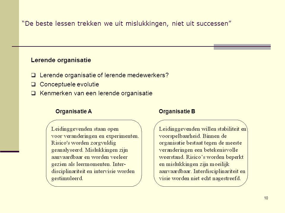 10 De beste lessen trekken we uit mislukkingen, niet uit successen Lerende organisatie  Lerende organisatie of lerende medewerkers.