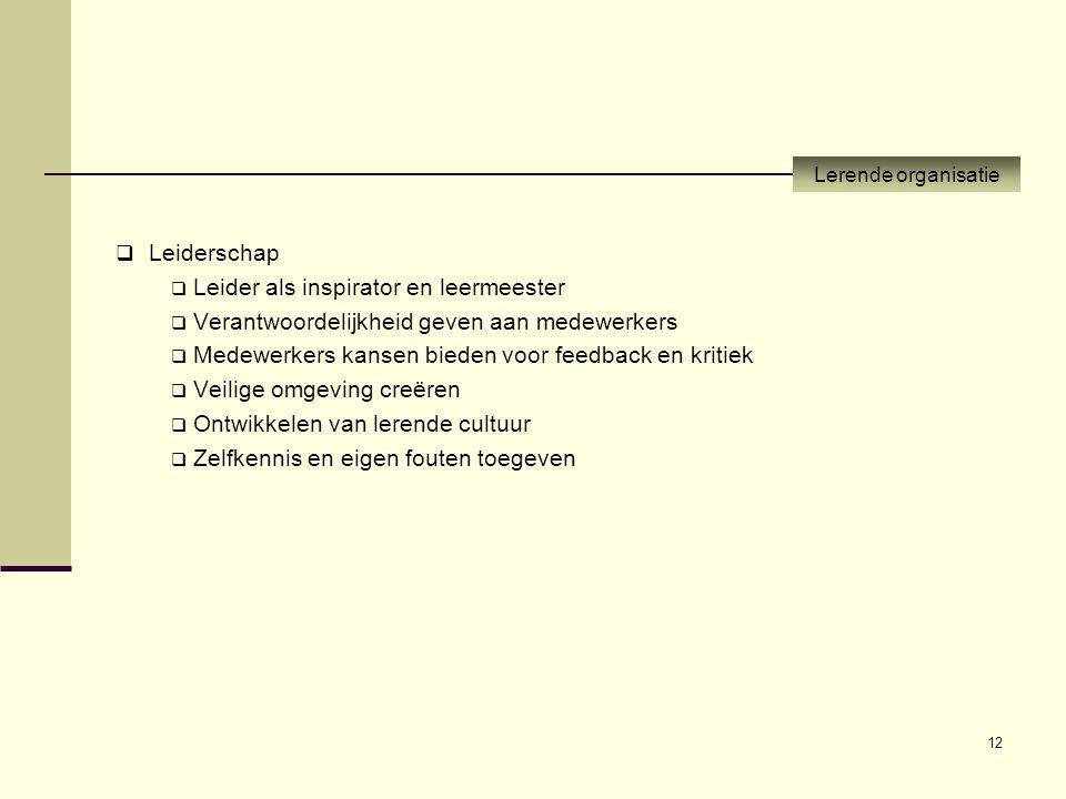 12  Leiderschap  Leider als inspirator en leermeester  Verantwoordelijkheid geven aan medewerkers  Medewerkers kansen bieden voor feedback en krit