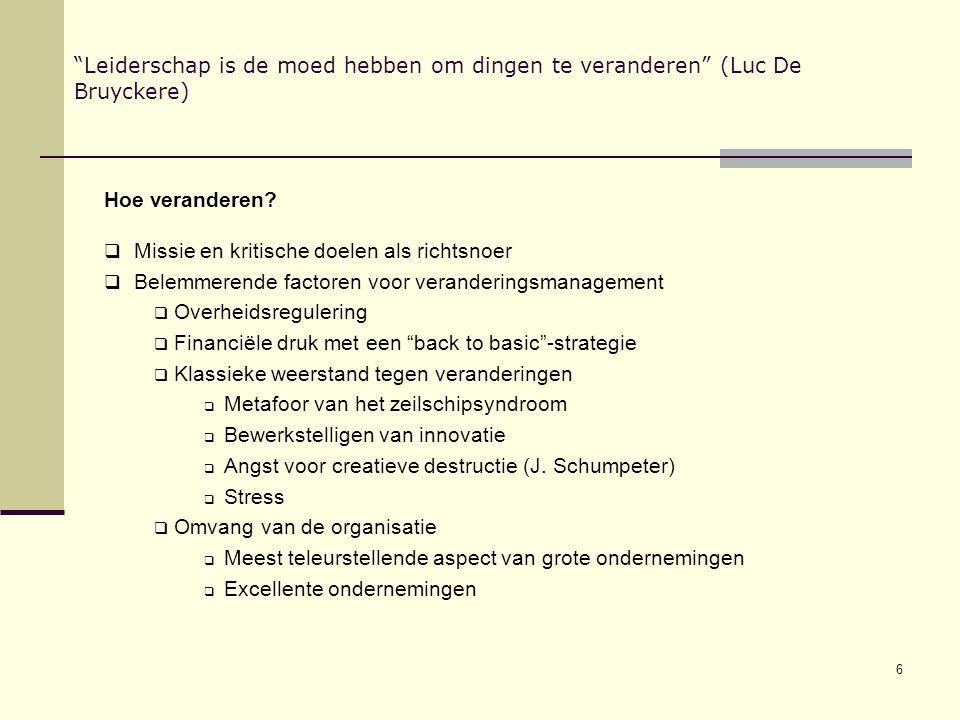 """6 """"Leiderschap is de moed hebben om dingen te veranderen"""" (Luc De Bruyckere) Hoe veranderen?  Missie en kritische doelen als richtsnoer  Belemmerend"""