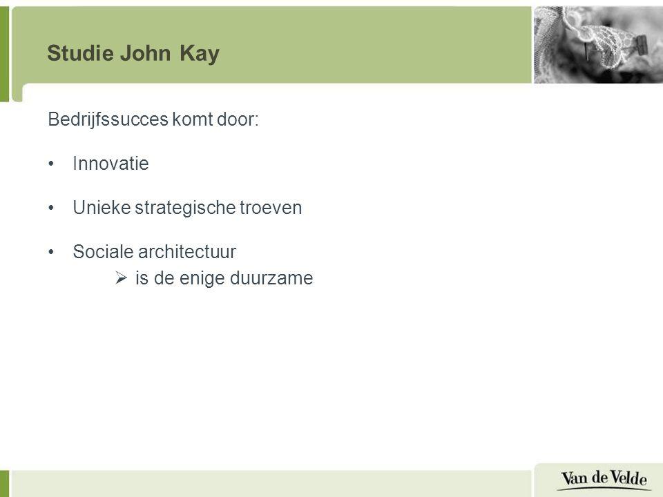 Studie John Kay Bedrijfssucces komt door: Innovatie Unieke strategische troeven Sociale architectuur  is de enige duurzame