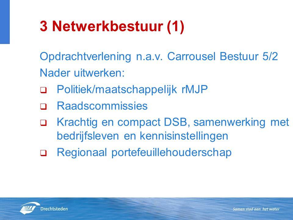 3 Netwerkbestuur (1) Opdrachtverlening n.a.v. Carrousel Bestuur 5/2 Nader uitwerken:  Politiek/maatschappelijk rMJP  Raadscommissies  Krachtig en c