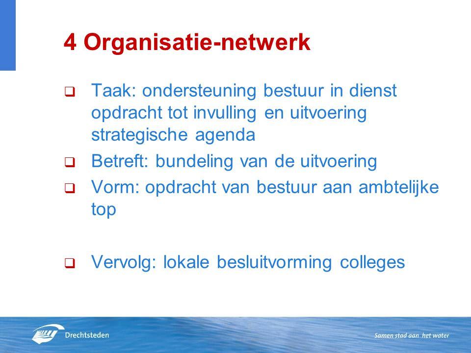 4 Organisatie-netwerk  Taak: ondersteuning bestuur in dienst opdracht tot invulling en uitvoering strategische agenda  Betreft: bundeling van de uit