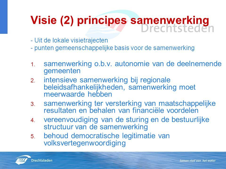 Visie (2) principes samenwerking - Uit de lokale visietrajecten - punten gemeenschappelijke basis voor de samenwerking 1. samenwerking o.b.v. autonomi