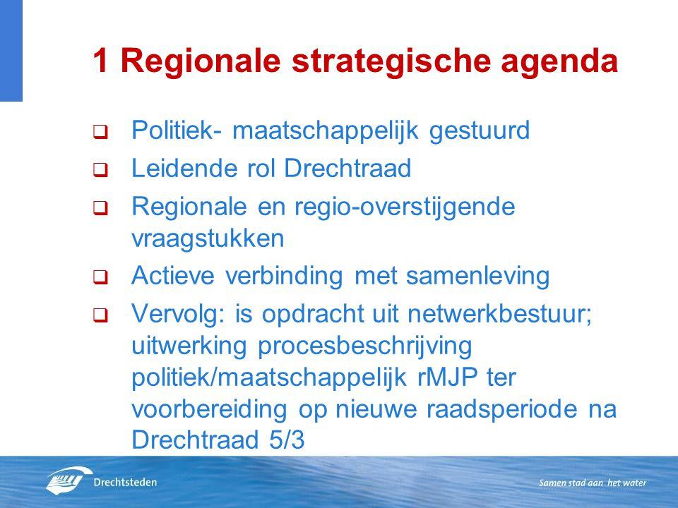 1 Regionale strategische agenda  Politiek- maatschappelijk gestuurd  Leidende rol Drechtraad  Regionale en regio-overstijgende vraagstukken  Actie