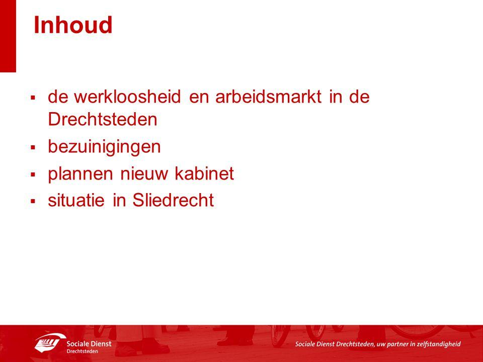 Inhoud  de werkloosheid en arbeidsmarkt in de Drechtsteden  bezuinigingen  plannen nieuw kabinet  situatie in Sliedrecht