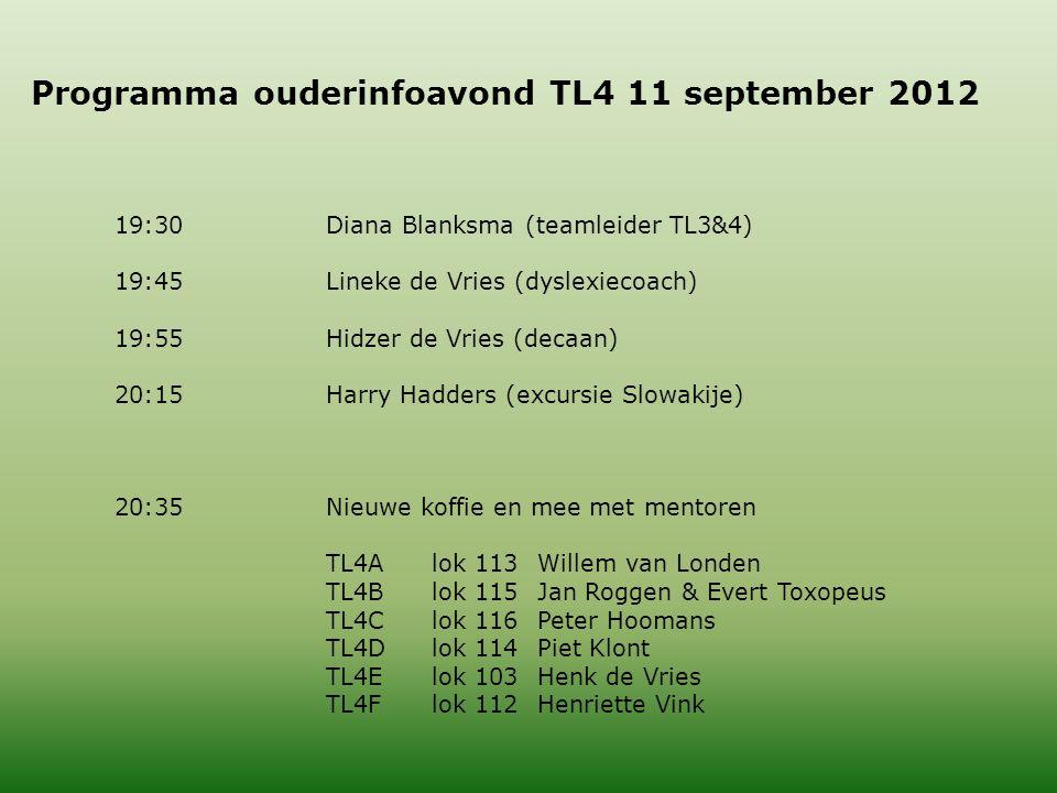 Programma ouderinfoavond TL4 11 september 2012 19:30Diana Blanksma (teamleider TL3&4) 19:45Lineke de Vries (dyslexiecoach) 19:55Hidzer de Vries (decaan) 20:15Harry Hadders (excursie Slowakije) 20:35Nieuwe koffie en mee met mentoren TL4Alok 113Willem van Londen TL4Blok 115Jan Roggen & Evert Toxopeus TL4Clok 116Peter Hoomans TL4Dlok 114Piet Klont TL4Elok 103Henk de Vries TL4Flok 112Henriette Vink