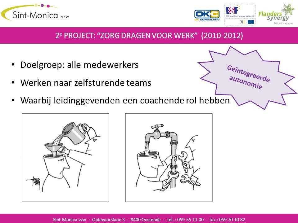 """ZIEKENHUISINFECTIES 2 e PROJECT: """"ZORG DRAGEN VOOR WERK"""" (2010-2012) Sint-Monica vzw - Ooievaarslaan 3 - 8400 Oostende - tel. : 059 55 11 00 - fax : 0"""