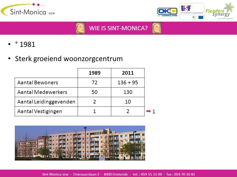 ZIEKENHUISINFECTIES WIE IS SINT-MONICA? Sint-Monica vzw - Ooievaarslaan 3 - 8400 Oostende - tel. : 059 55 11 00 - fax : 059 70 10 82 ° 1981 Sterk groe
