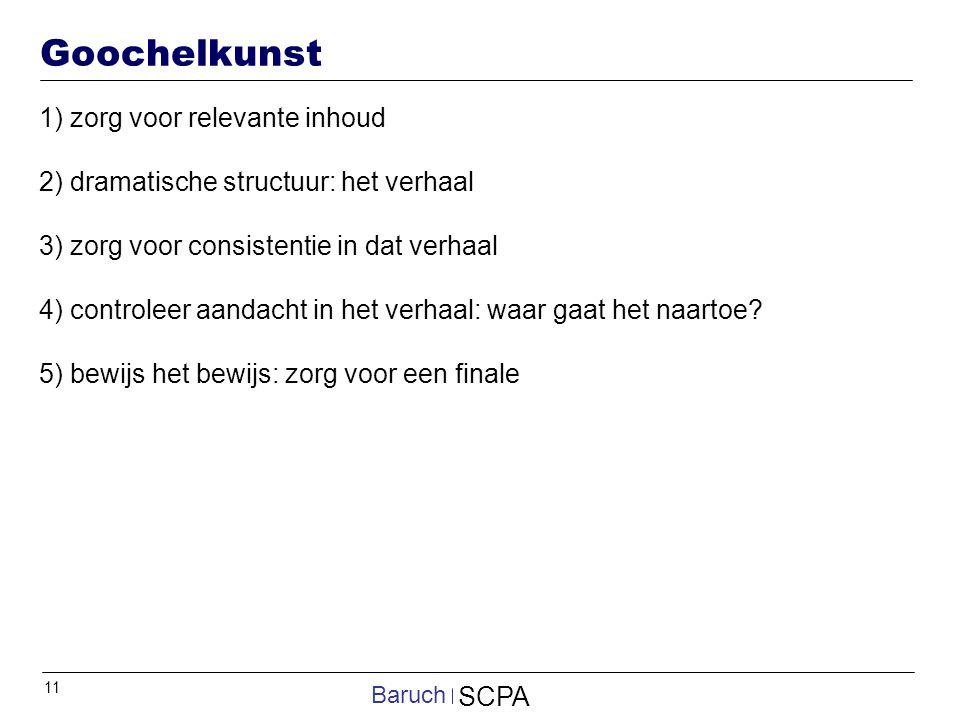 11 SCPA Baruch Goochelkunst 1) zorg voor relevante inhoud 2) dramatische structuur: het verhaal 3) zorg voor consistentie in dat verhaal 4) controleer