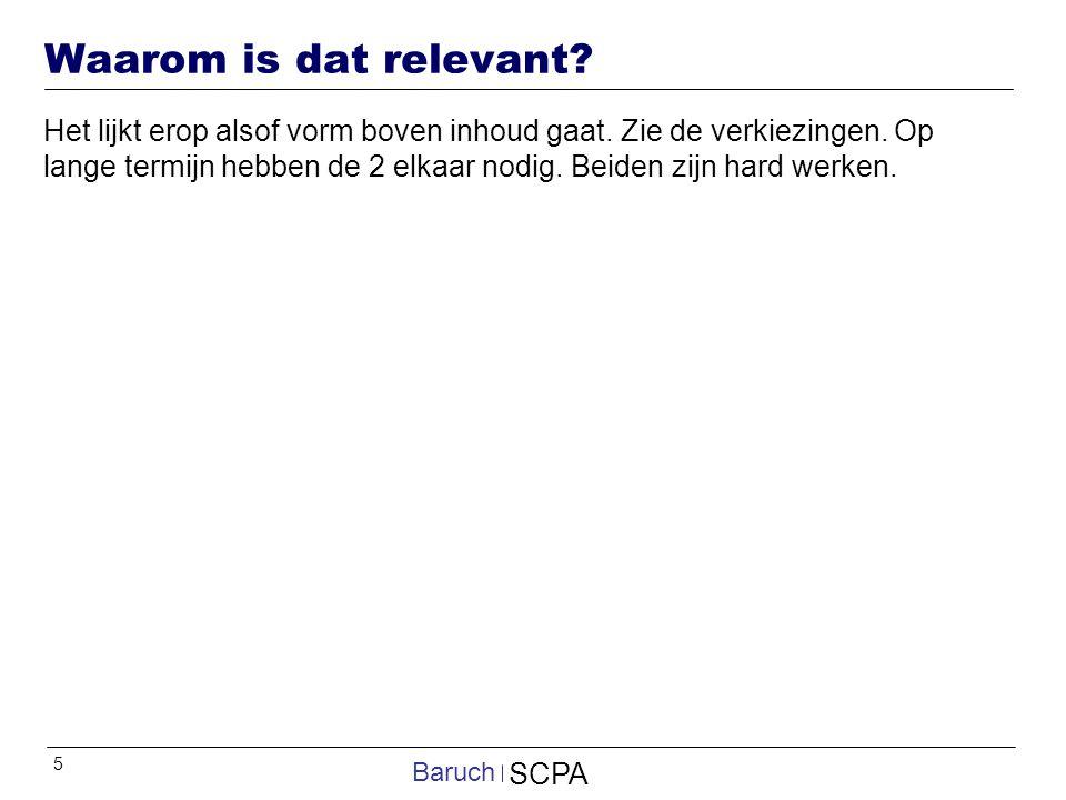 5 SCPA Baruch Waarom is dat relevant.Het lijkt erop alsof vorm boven inhoud gaat.