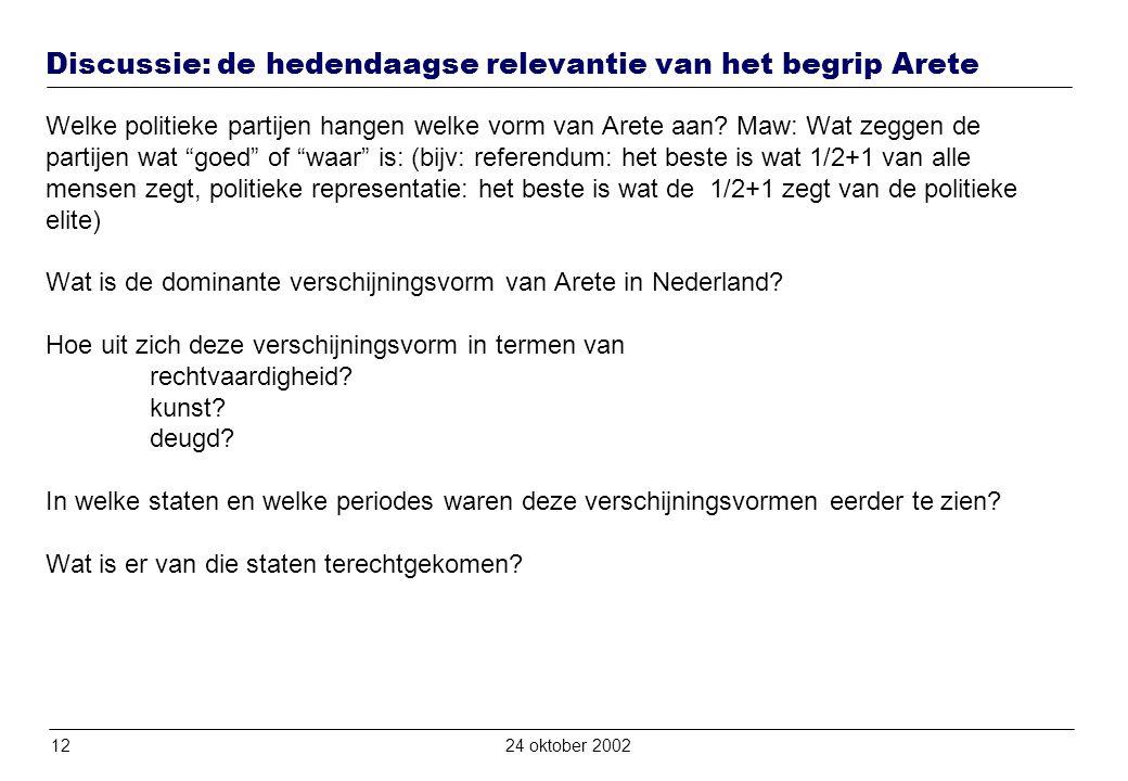 1224 oktober 2002 Discussie: de hedendaagse relevantie van het begrip Arete Welke politieke partijen hangen welke vorm van Arete aan.