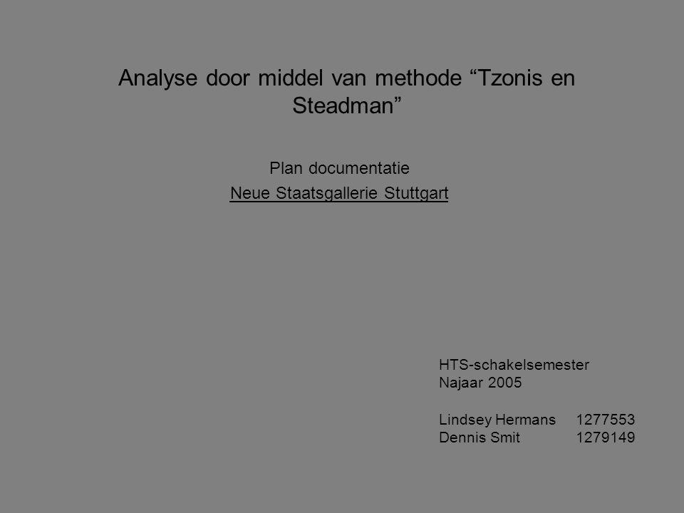 """Analyse door middel van methode """"Tzonis en Steadman"""" Plan documentatie Neue Staatsgallerie Stuttgart HTS-schakelsemester Najaar 2005 Lindsey Hermans12"""