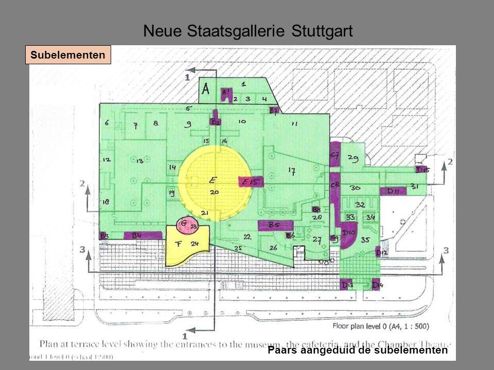 Neue Staatsgallerie Stuttgart Subelementen Paars aangeduid de subelementen