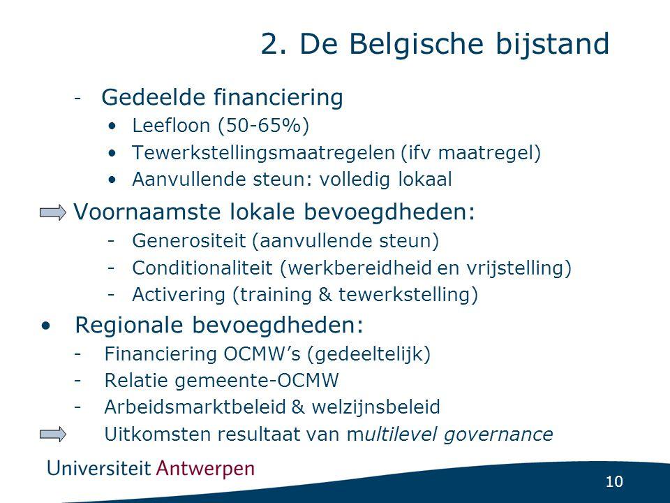 10 - Gedeelde financiering Leefloon (50-65%) Tewerkstellingsmaatregelen (ifv maatregel) Aanvullende steun: volledig lokaal Voornaamste lokale bevoegdheden: -Generositeit (aanvullende steun) -Conditionaliteit (werkbereidheid en vrijstelling) -Activering (training & tewerkstelling) Regionale bevoegdheden: -Financiering OCMW's (gedeeltelijk) -Relatie gemeente-OCMW -Arbeidsmarktbeleid & welzijnsbeleid Uitkomsten resultaat van multilevel governance 2.