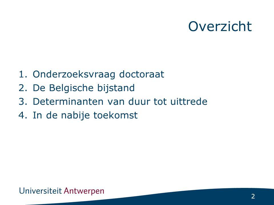 2 1.Onderzoeksvraag doctoraat 2.De Belgische bijstand 3.Determinanten van duur tot uittrede 4.In de nabije toekomst Overzicht