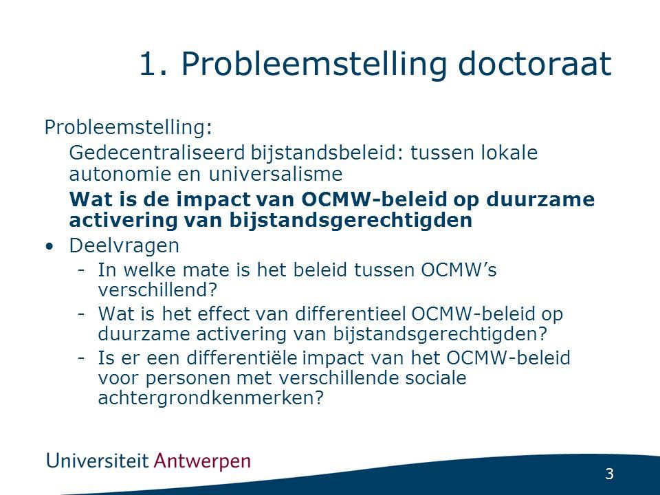 3 1. Probleemstelling doctoraat Probleemstelling: Gedecentraliseerd bijstandsbeleid: tussen lokale autonomie en universalisme Wat is de impact van OCM