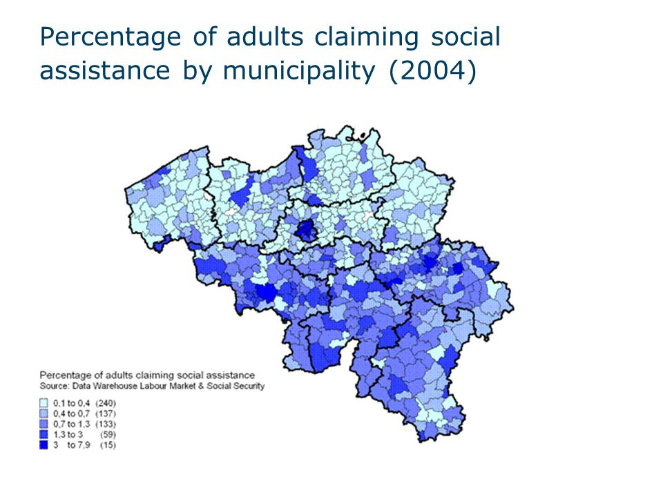 Percentage of adults claiming social assistance by municipality (2004)