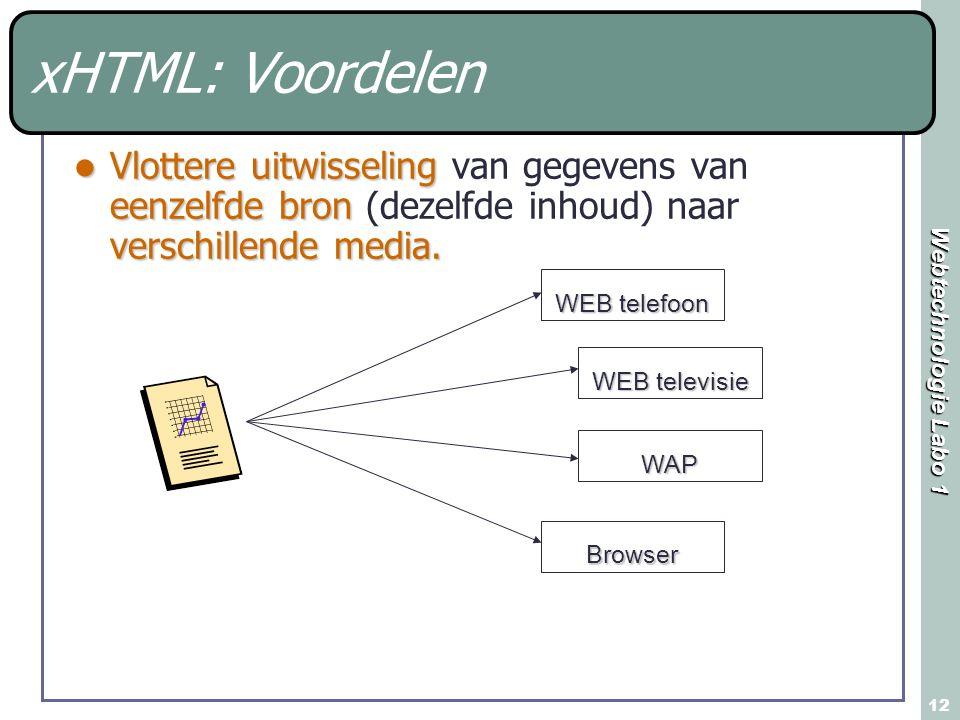 Webtechnologie Labo 1 12 xHTML: Voordelen Vlottere uitwisseling eenzelfde bron verschillende media.