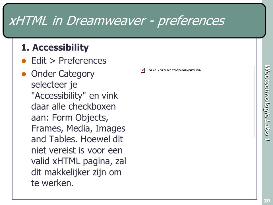 Webtechnologie Labo 1 20 xHTML in Dreamweaver - preferences 1.
