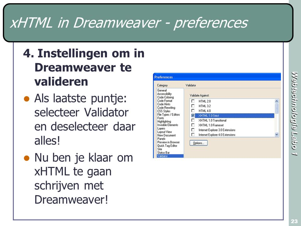 Webtechnologie Labo 1 23 xHTML in Dreamweaver - preferences 4.