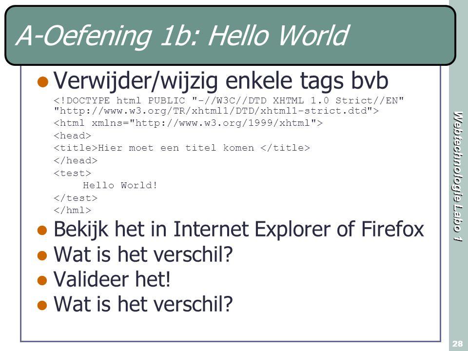 Webtechnologie Labo 1 28 A-Oefening 1b: Hello World Verwijder/wijzig enkele tags bvb Hier moet een titel komen Hello World! Bekijk het in Internet Exp