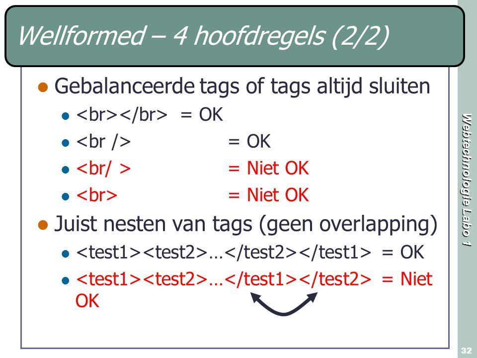 Webtechnologie Labo 1 32 Wellformed – 4 hoofdregels (2/2) Gebalanceerde tags of tags altijd sluiten = OK = Niet OK Juist nesten van tags (geen overlapping) … = OK … = Niet OK