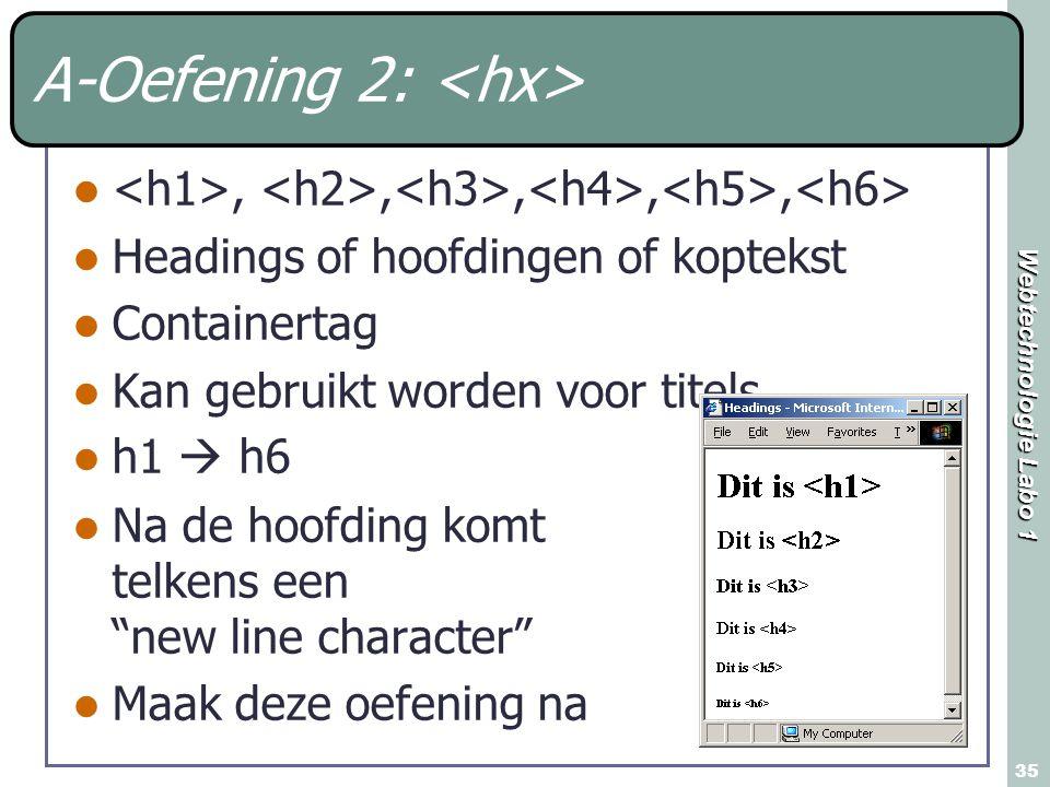 Webtechnologie Labo 1 35 A-Oefening 2:,,,,, Headings of hoofdingen of koptekst Containertag Kan gebruikt worden voor titels h1  h6 Na de hoofding komt telkens een new line character Maak deze oefening na