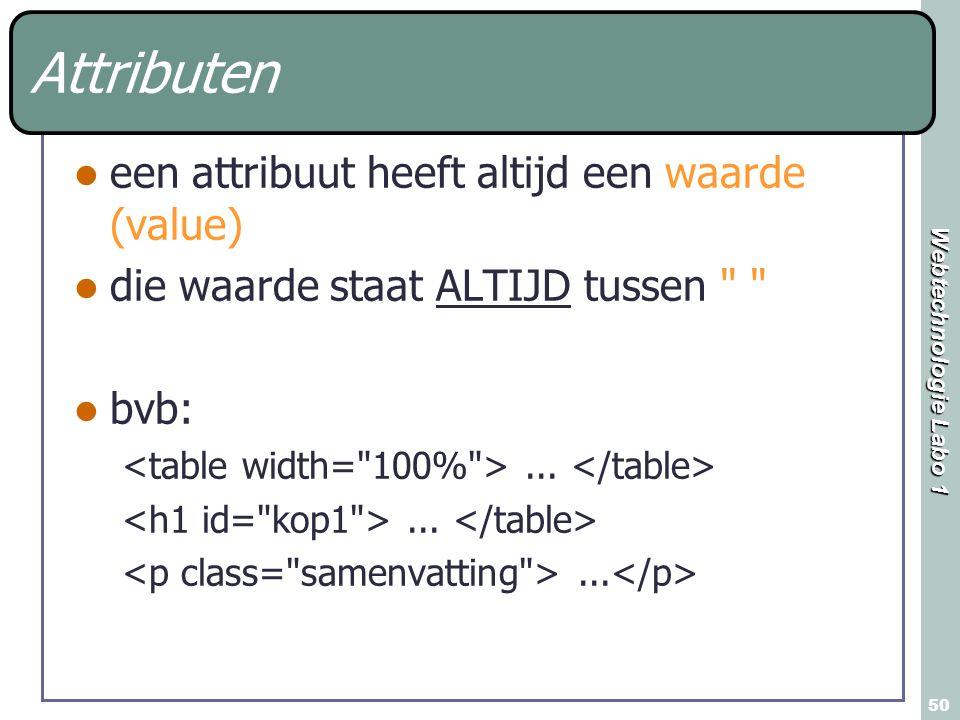 Webtechnologie Labo 1 50 Attributen een attribuut heeft altijd een waarde (value) die waarde staat ALTIJD tussen bvb:...