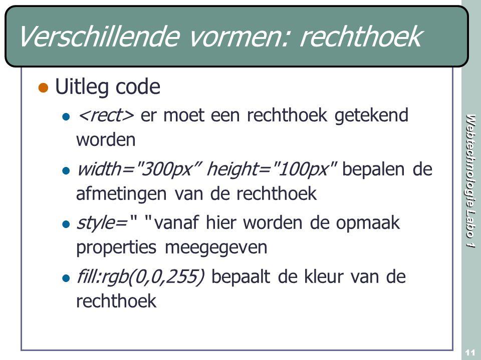 Webtechnologie Labo 1 11 Verschillende vormen: rechthoek Uitleg code er moet een rechthoek getekend worden width=