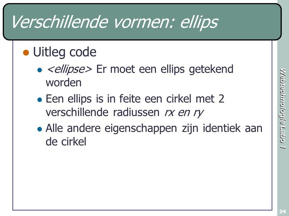 Webtechnologie Labo 1 24 Verschillende vormen: ellips Uitleg code Er moet een ellips getekend worden Een ellips is in feite een cirkel met 2 verschill