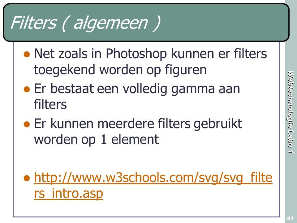 Webtechnologie Labo 1 31 Filters ( algemeen ) Net zoals in Photoshop kunnen er filters toegekend worden op figuren Er bestaat een volledig gamma aan f