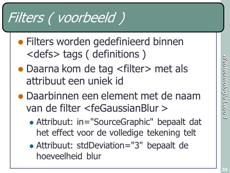 Webtechnologie Labo 1 33 Filters ( voorbeeld ) Filters worden gedefinieerd binnen tags ( definitions ) Daarna kom de tag met als attribuut een uniek i
