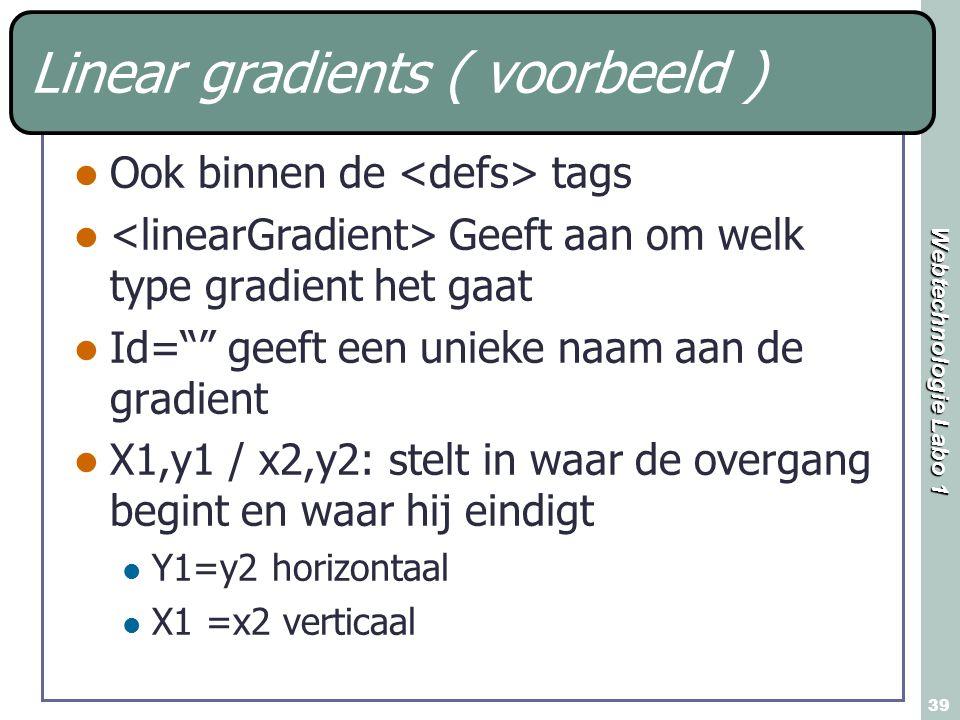 """Webtechnologie Labo 1 39 Linear gradients ( voorbeeld ) Ook binnen de tags Geeft aan om welk type gradient het gaat Id="""""""" geeft een unieke naam aan de"""