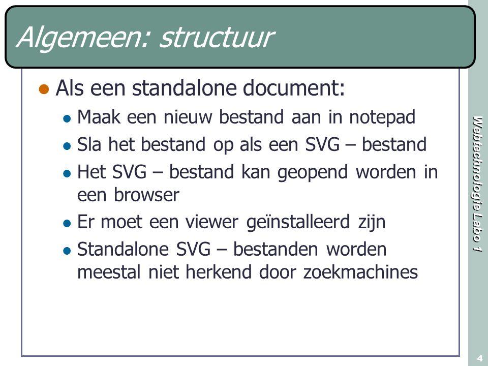 Webtechnologie Labo 1 4 Algemeen: structuur Als een standalone document: Maak een nieuw bestand aan in notepad Sla het bestand op als een SVG – bestan