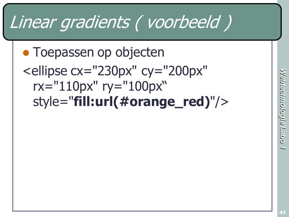 Webtechnologie Labo 1 41 Linear gradients ( voorbeeld ) Toepassen op objecten