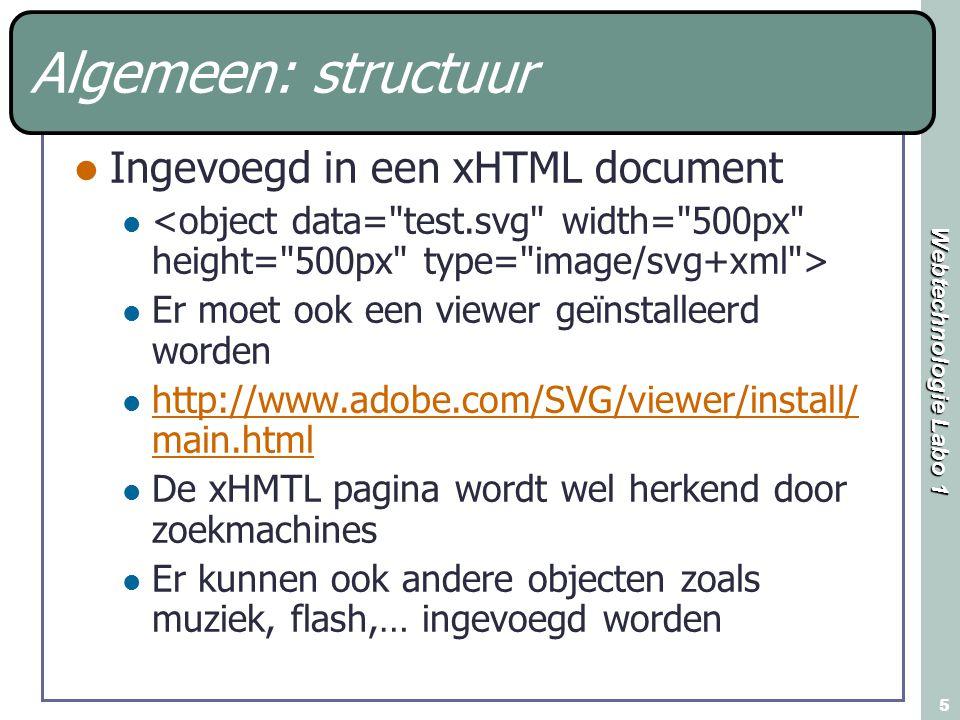 Webtechnologie Labo 1 5 Algemeen: structuur Ingevoegd in een xHTML document Er moet ook een viewer geïnstalleerd worden http://www.adobe.com/SVG/viewe