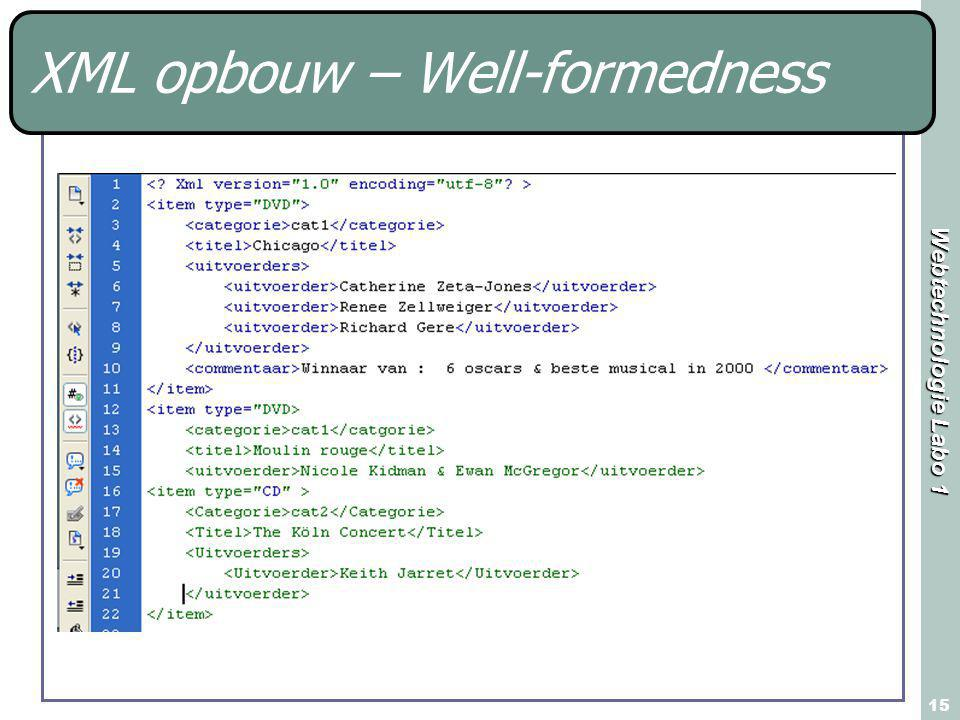 Webtechnologie Labo 1 15 XML opbouw – Well-formedness