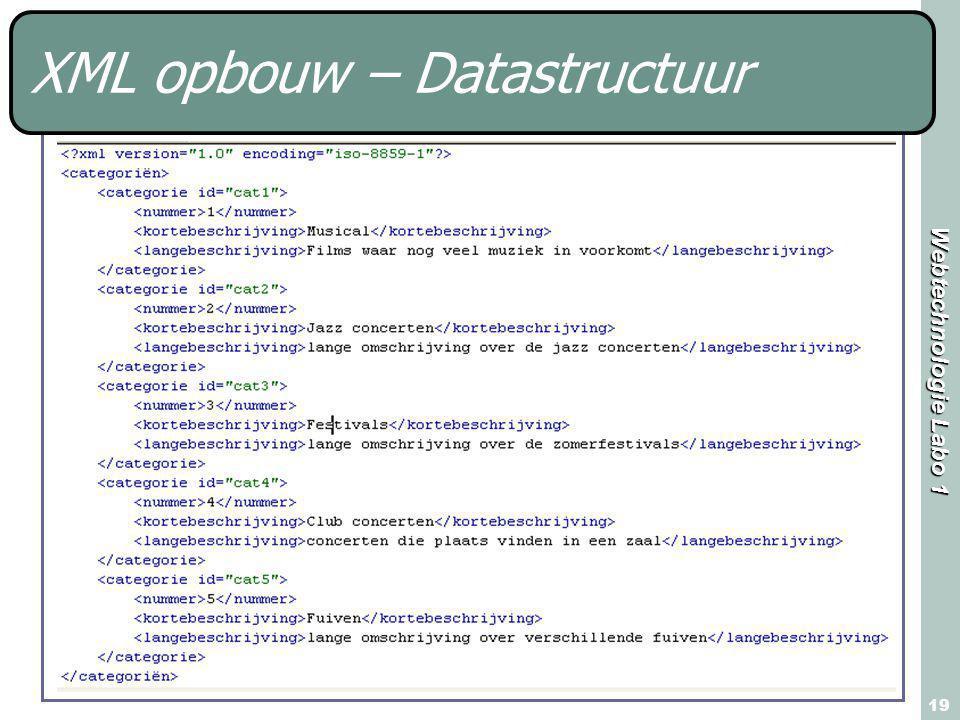 Webtechnologie Labo 1 19 XML opbouw – Datastructuur