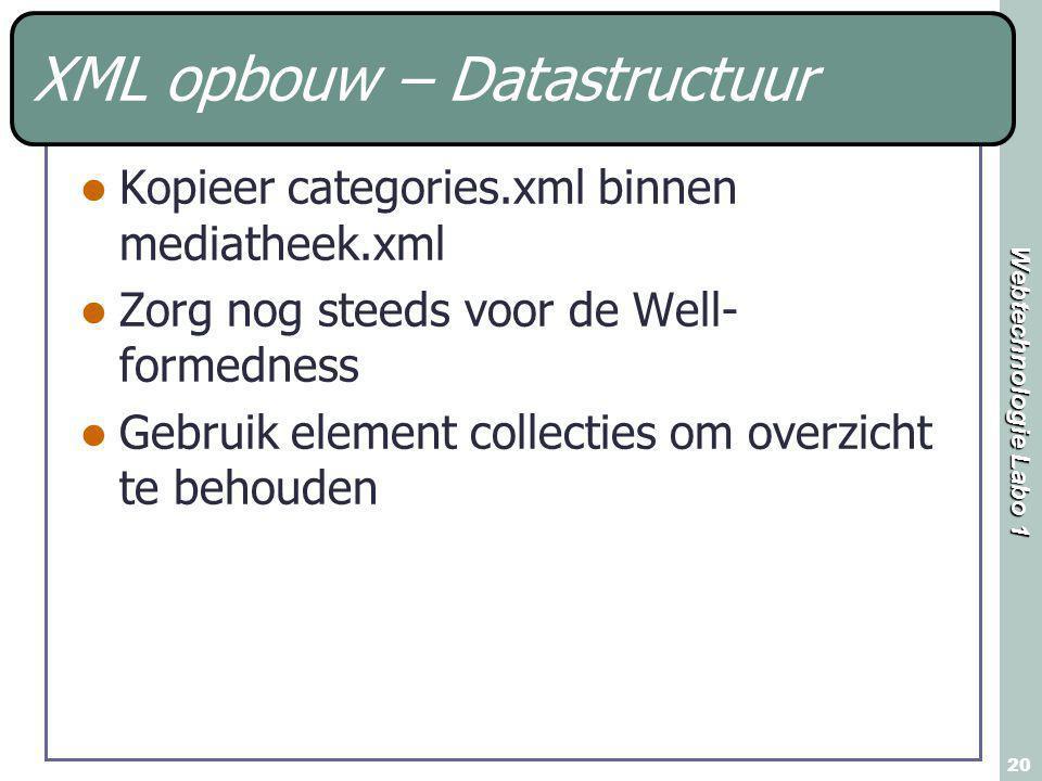 Webtechnologie Labo 1 20 XML opbouw – Datastructuur Kopieer categories.xml binnen mediatheek.xml Zorg nog steeds voor de Well- formedness Gebruik element collecties om overzicht te behouden