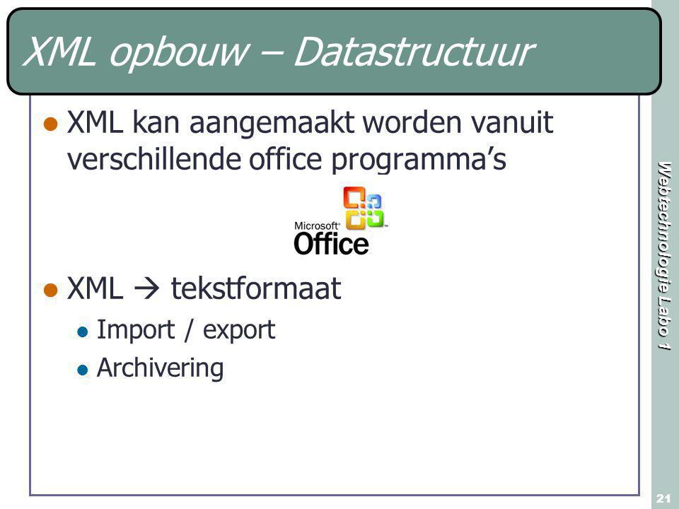 Webtechnologie Labo 1 21 XML opbouw – Datastructuur XML kan aangemaakt worden vanuit verschillende office programma's XML  tekstformaat Import / export Archivering