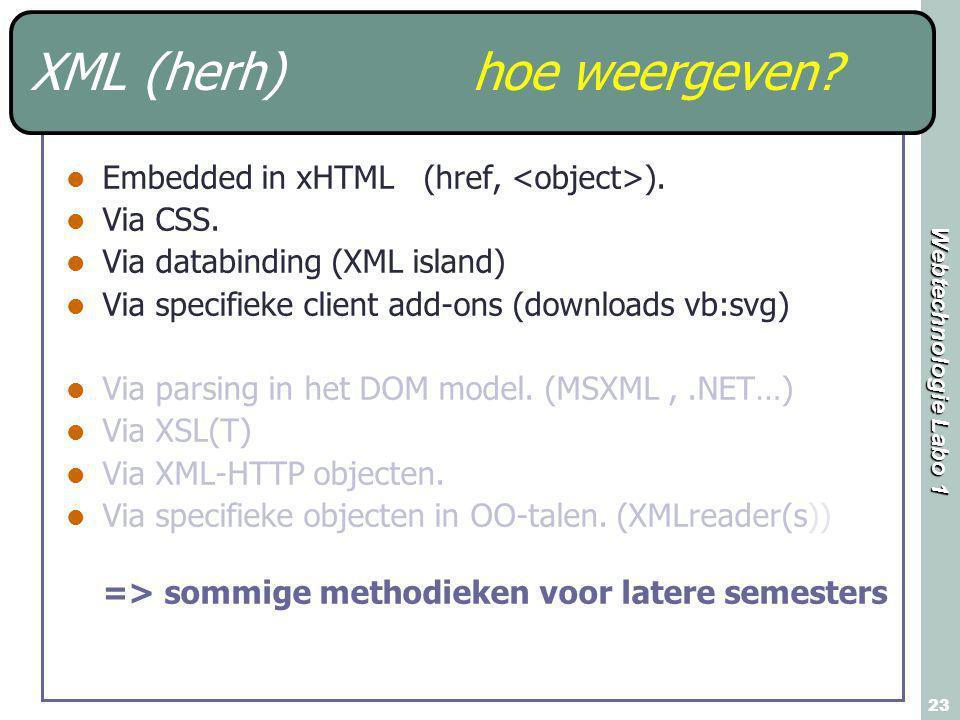 Webtechnologie Labo 1 23 XML (herh) hoe weergeven? Embedded in xHTML (href, ). Via CSS. Via databinding (XML island) Via specifieke client add-ons (do