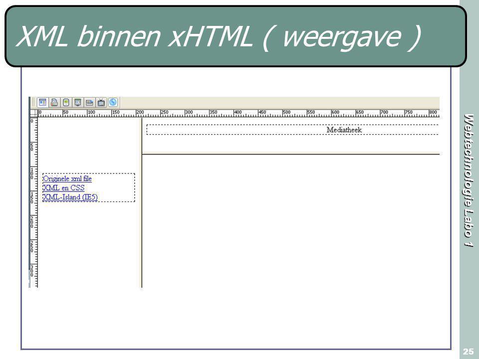 Webtechnologie Labo 1 25 XML binnen xHTML ( weergave )
