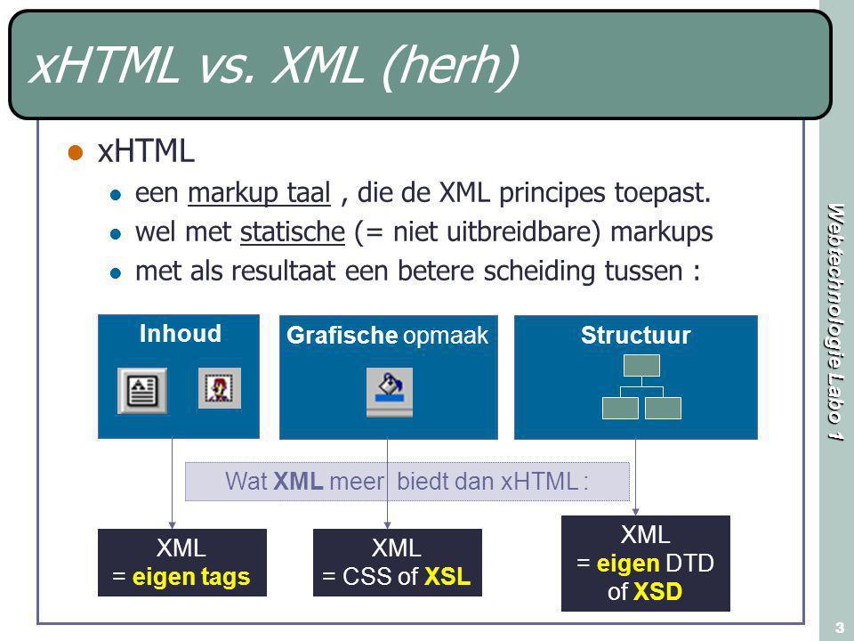 Webtechnologie Labo 1 3 xHTML vs. XML (herh) xHTML een markup taal, die de XML principes toepast. wel met statische (= niet uitbreidbare) markups met