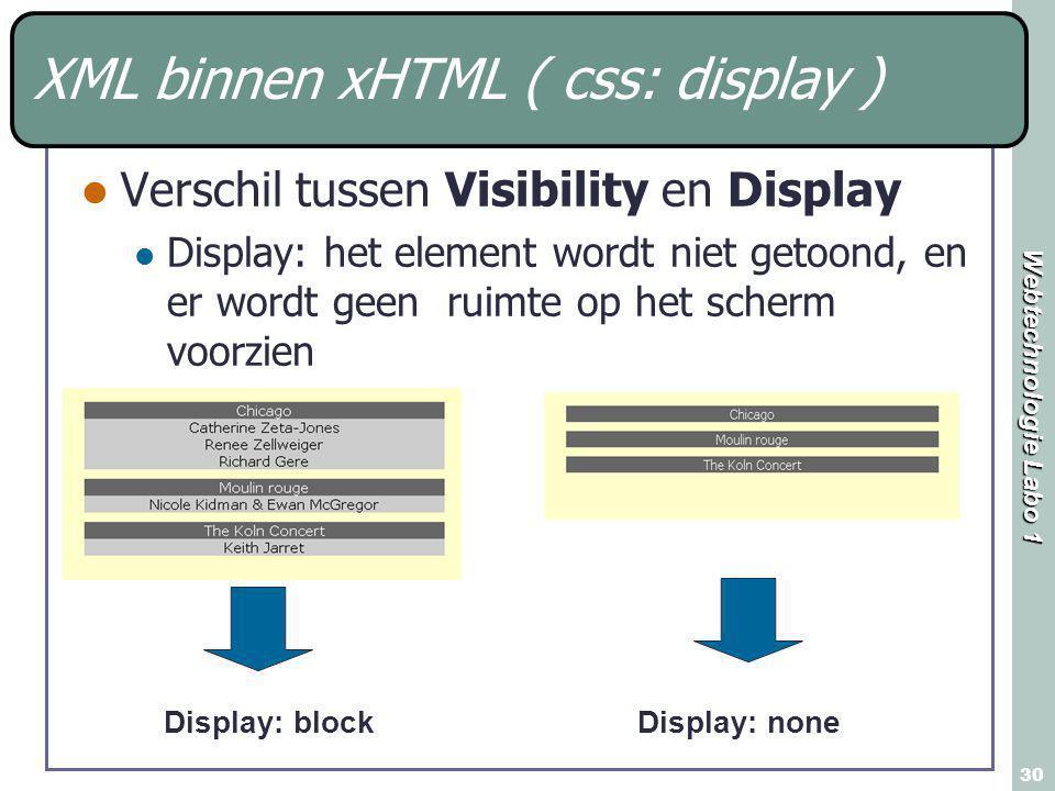 Webtechnologie Labo 1 30 XML binnen xHTML ( css: display ) Verschil tussen Visibility en Display Display: het element wordt niet getoond, en er wordt geen ruimte op het scherm voorzien Display: blockDisplay: none