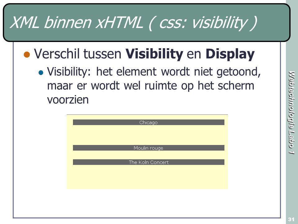 Webtechnologie Labo 1 31 XML binnen xHTML ( css: visibility ) Verschil tussen Visibility en Display Visibility: het element wordt niet getoond, maar er wordt wel ruimte op het scherm voorzien