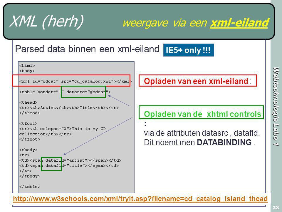 Webtechnologie Labo 1 33 XML (herh) weergave via een xml-eiland http://www.w3schools.com/xml/tryit.asp filename=cd_catalog_island_thead Opladen van een xml-eiland : Opladen van de xhtml controls : via de attributen datasrc, datafld.