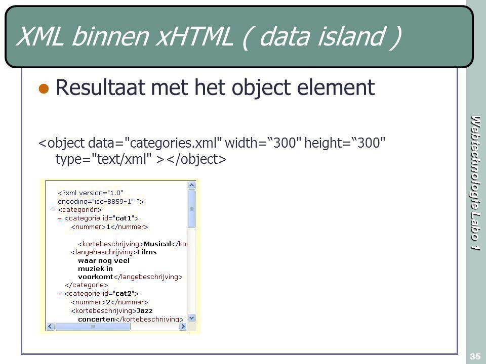 Webtechnologie Labo 1 35 XML binnen xHTML ( data island ) Resultaat met het object element