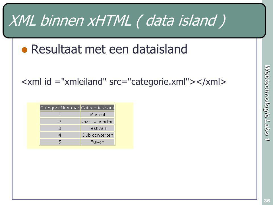 Webtechnologie Labo 1 36 XML binnen xHTML ( data island ) Resultaat met een dataisland